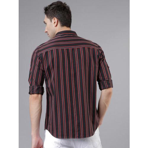 LOCOMOTIVE Men Black & Red Slim Fit Striped Casual Shirt