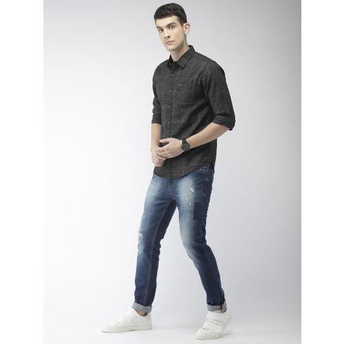 The Indian Garage Co Men Black Slim Fit Solid Casual Shirt