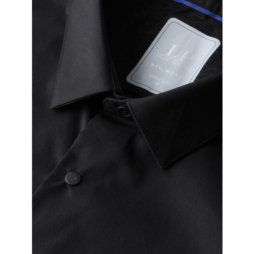 Louis Philippe Ath.Work Men Black Super Slim Fit Solid Smart Casual Shirt