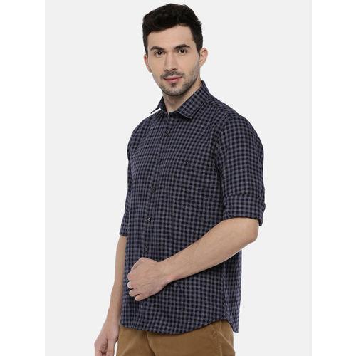 Van Heusen Men Black & Charcoal Grey Slim Fit Checked Casual Shirt