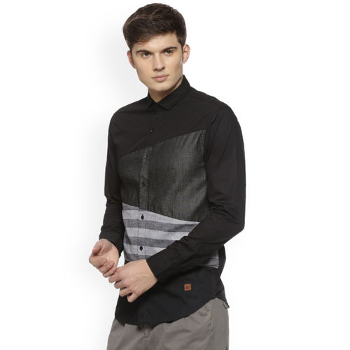 Campus Sutra Men Black & Grey Regular Fit Striped Casual Shirt