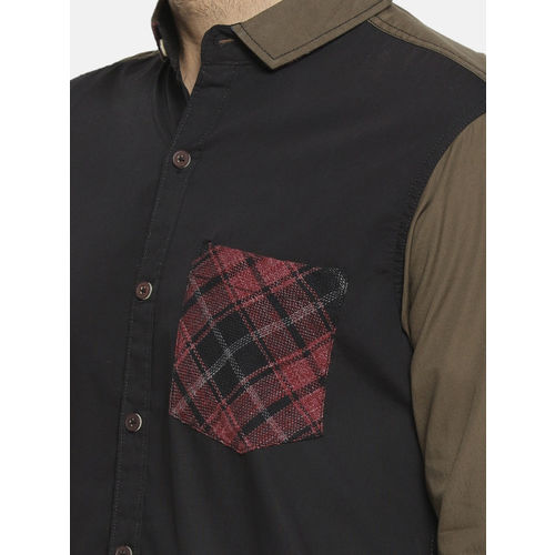 Campus Sutra Men Black Regular Fit Solid Casual Shirt