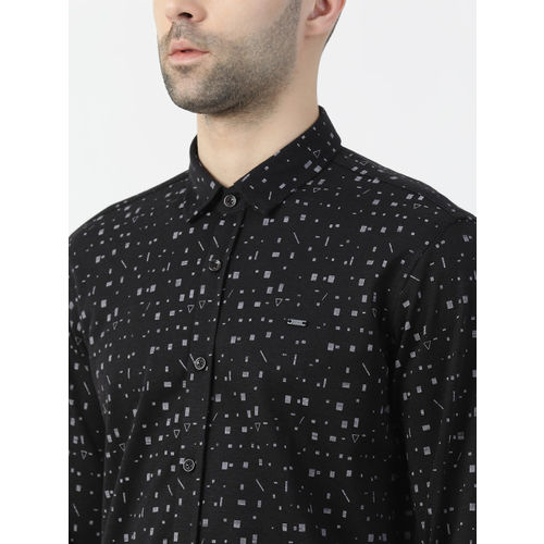 Monte Carlo Men Black Regular Fit Printed Casual Shirt