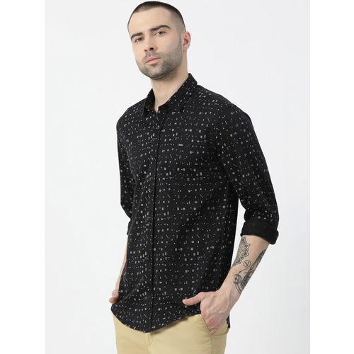 Monte Carlo Men Black Regular Fit Printed Casual Shirt