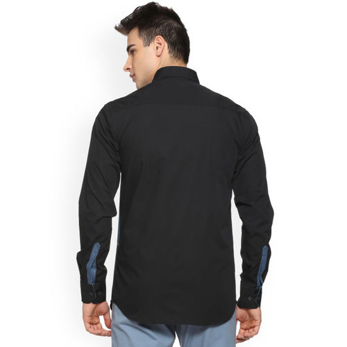Campus Sutra Men Black & Blue Regular Fit Colourblocked Casual Shirt