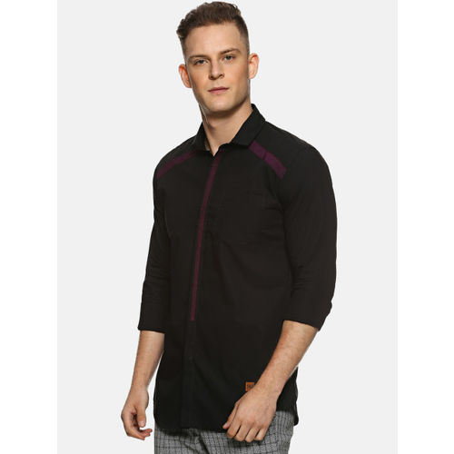 Campus Sutra Men Black & Pink Regular Fit Solid Casual Shirt