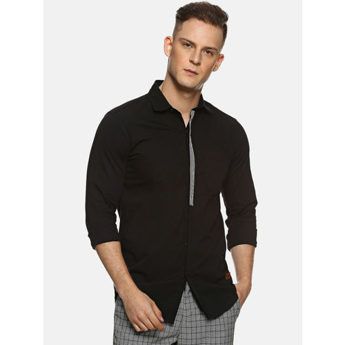 Campus Sutra Men Black Regular Fit Solid Casual Shirt