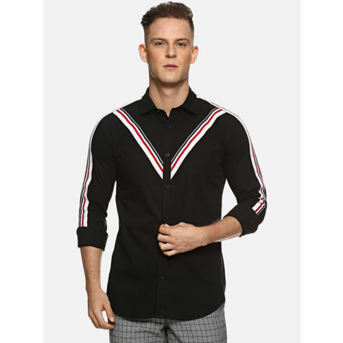 Campus Sutra Men Black & Off-White Regular Fit Striped Casual Shirt