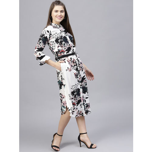 Athena Women White & Black Printed Shirt Dress