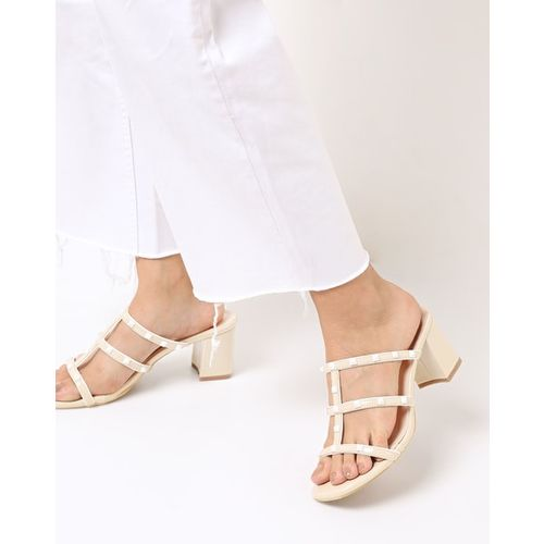 AJIO Studded Chunky Heeled Sandals