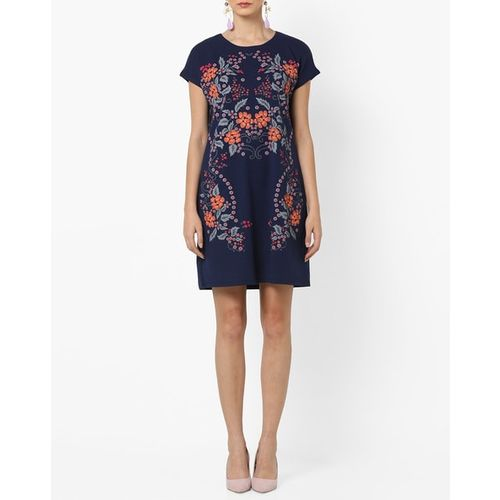 AJIO Floral Print Round-Neck Shift Dress