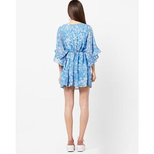 AJIO Floral Print Kaftan Dress with Extended-Shoulder Sleeves