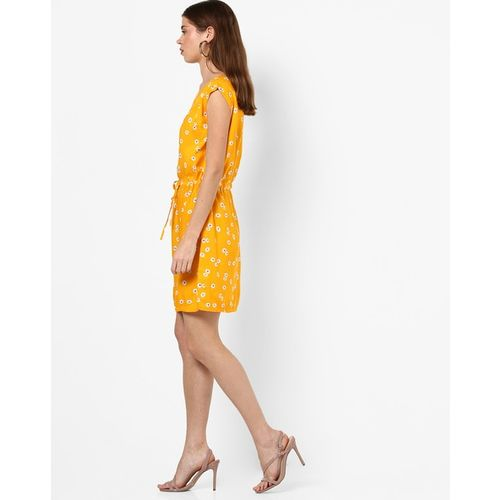 RIO Floral Print A-line Dress with Tie-Up