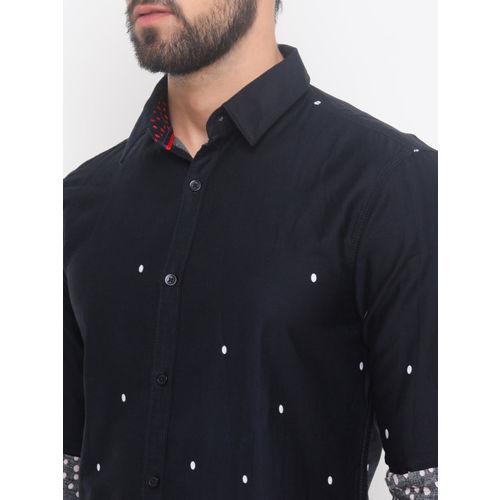 WITH Men Black Slim Fit Printed Casual Shirt
