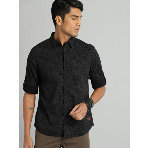 Roadster Men Black Regular Fit Printed Casual Shirt