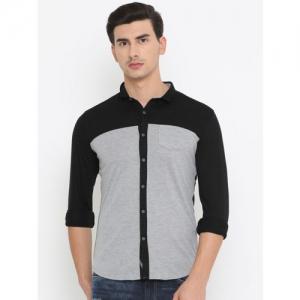 SHOWOFF Black & Grey Slim Fit Colourblocked Casual Shirt