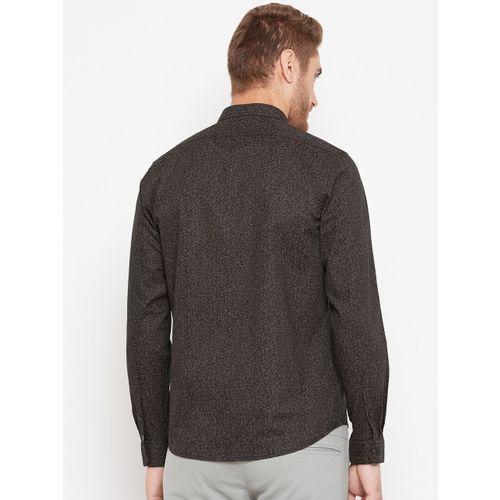 Blackberrys Men Black & Beige Slim Fit Printed Smart Casual Shirt