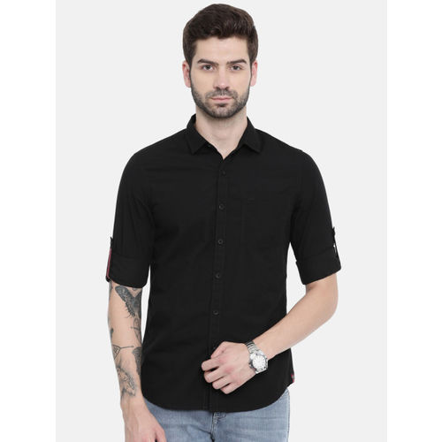 Lee Men Black Slim Fit Solid Casual Shirt