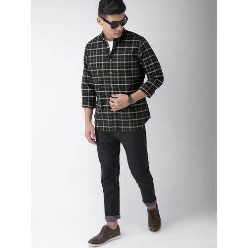 Harvard Men Black & Olive Green Regular Fit Checked Casual Shirt