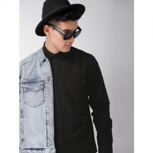 Harvard Men Black Regular Fit Solid Casual Shirt