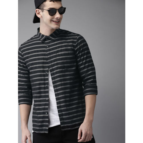 HERE&NOW Men Black & Grey Slim Fit Striped Casual Shirt