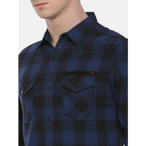 SPYKAR Men Black & Navy Blue Slim Fit Checked Casual Shirt
