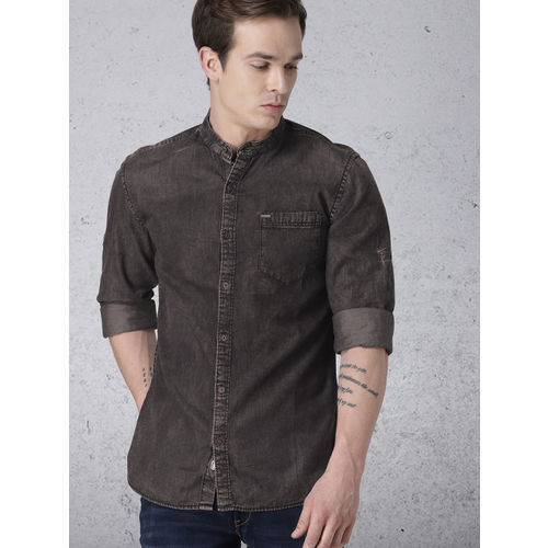 Ecko Unltd Men Black Faded Chambray Casual Shirt