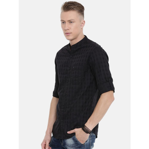 SPYKAR Men Black Slim Fit Solid Casual Shirt