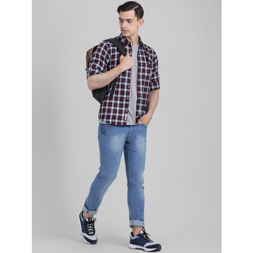 Being Fab Men Black & Red Slim Fit Checked Casual Shirt