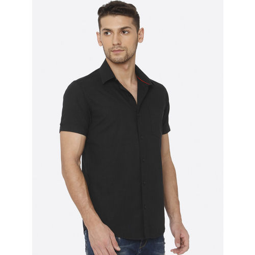 Mufti Men Black Slim Fit Solid Casual Shirt