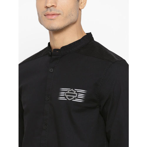 Harley-Davidson Men Black Slim Fit Solid Casual Shirt