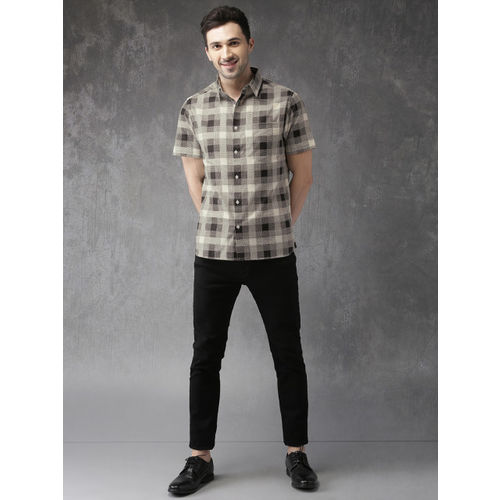 Anouk Black & Off-White Cotton Regular Fit Checked Casual Shirt