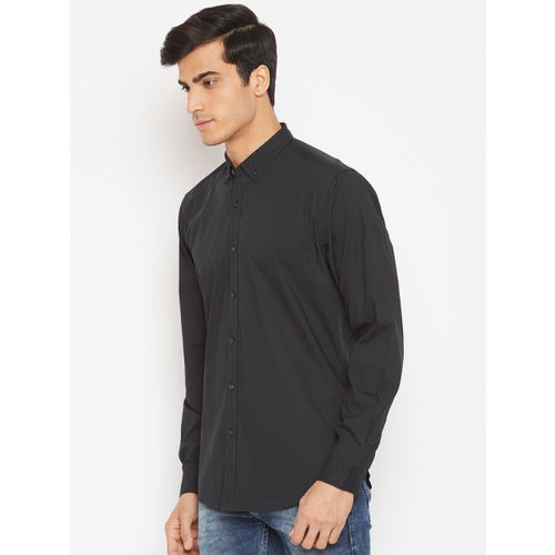 Blackberrys Men Black Slim Fit Solid Casual Shirt