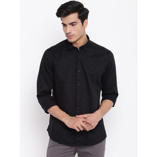 Blackberrys Men Black Slim Fit Self Striped Casual Shirt