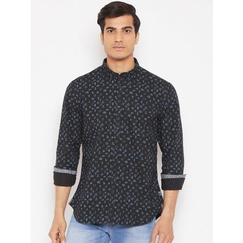 Blackberrys Men Black & Blue Slim Fit Printed Casual Shirt