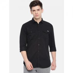 Jack & Jones Men Black Slim Fit Solid Casual Shirt