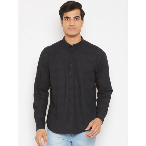 Blackberrys Men Black Slim Fit Striped Casual Shirt