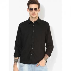 Pepe Jeans Men Black Regular Fit Solid Casual Shirt