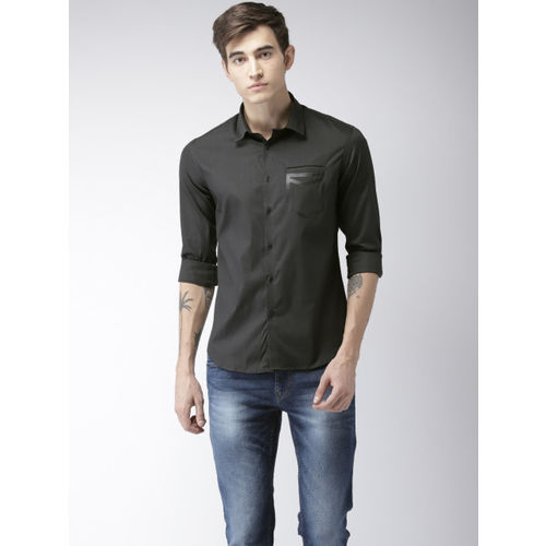 Flying Machine Men Black Slim Fit Solid Casual Shirt