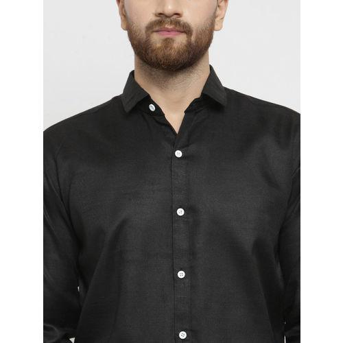 JAINISH Men Black Classic Slim Fit Solid Casual Shirt