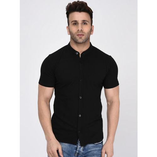 WILD WEST Men Black Slim Fit Solid Casual Shirt