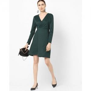 RIO Textured V-neck Tiered Dress