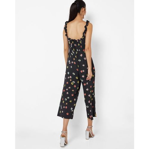 BRAVE SOUL Floral Print Culotte Suit with Ruffled Sleeve Straps