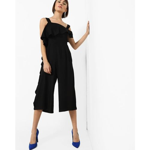 AJIO Cold-Shoulder Layered Jumpsuit