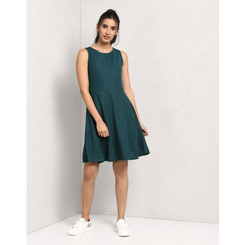 Metronaut Women Fit and Flare Dark Green Dress
