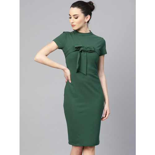 Athena Women Green Solid Tie-Up Detail Sheath Dress