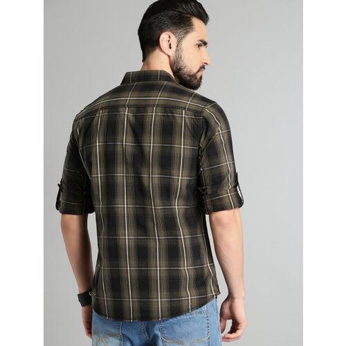 Roadster Black & Khaki Brown Regular Fit Checked Casual Shirt