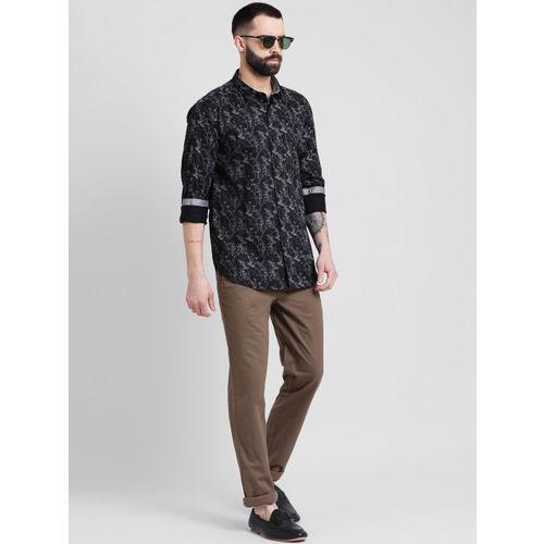 COBB Men Black Slim Fit Printed Casual Shirt