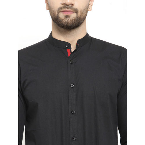 WESTCLO Men Black Slim Fit Solid Casual Shirt