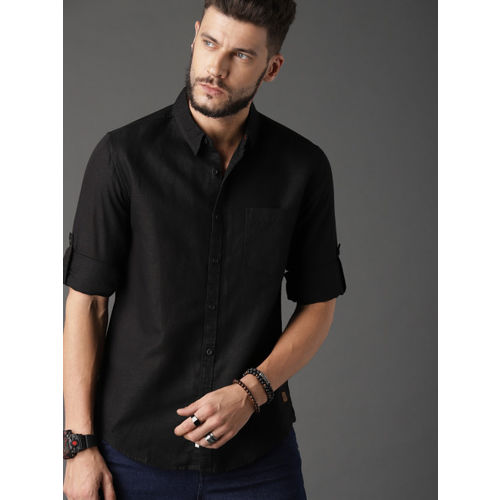 Roadster Men Black Regular Fit Cotton Linen Casual Shirt